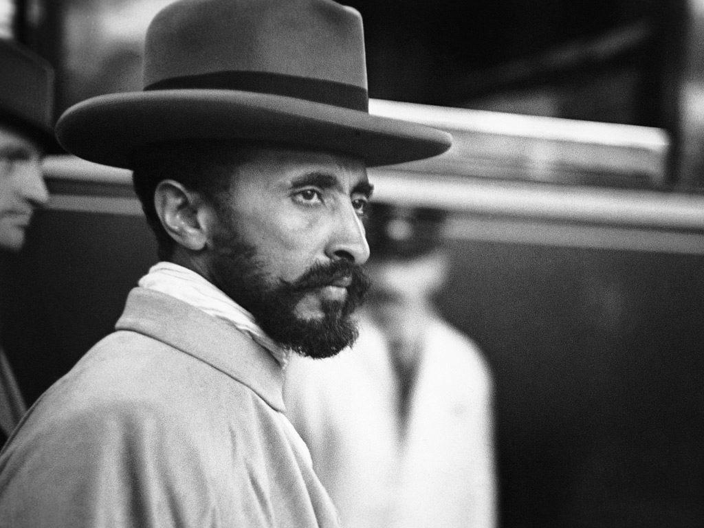 Haile Selassie, the Emperor of Ethiopia, in a railway station in Geneva, Switzerland, 1935