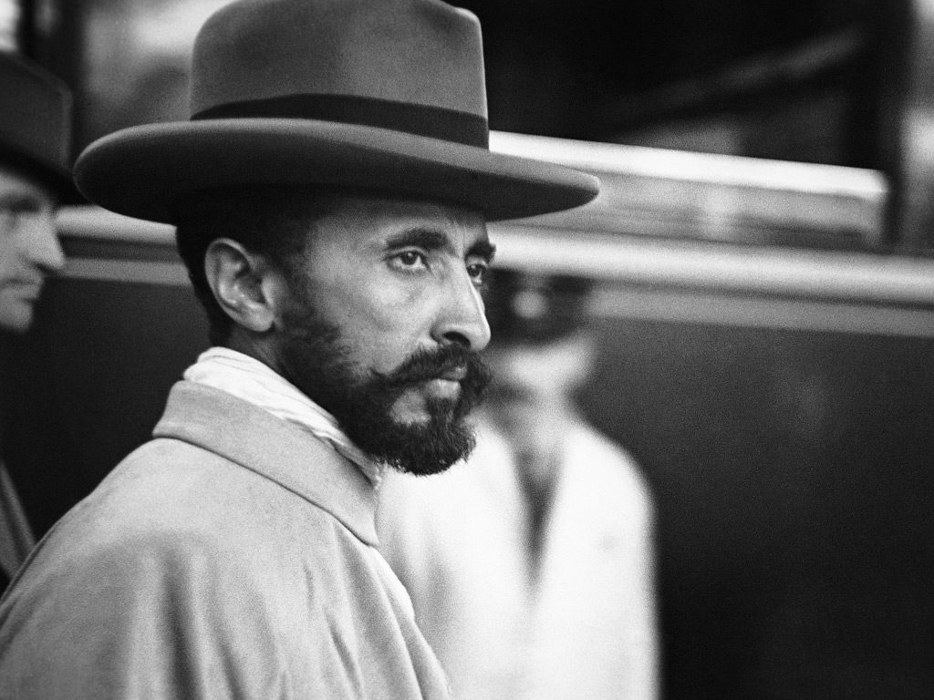 Haile Selassie, the Emperor of Ethiopia, in a railway station in Geneva, Switzerland, 1935